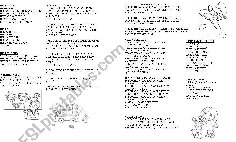 Kinder Songbook worksheet