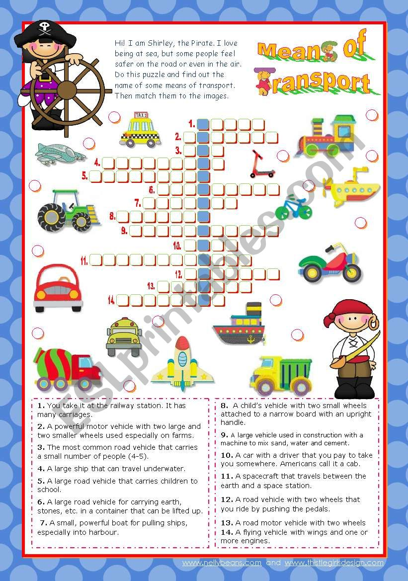 Means of Transport  Crossword Puzzle for Elementary or Lower Intermediate students