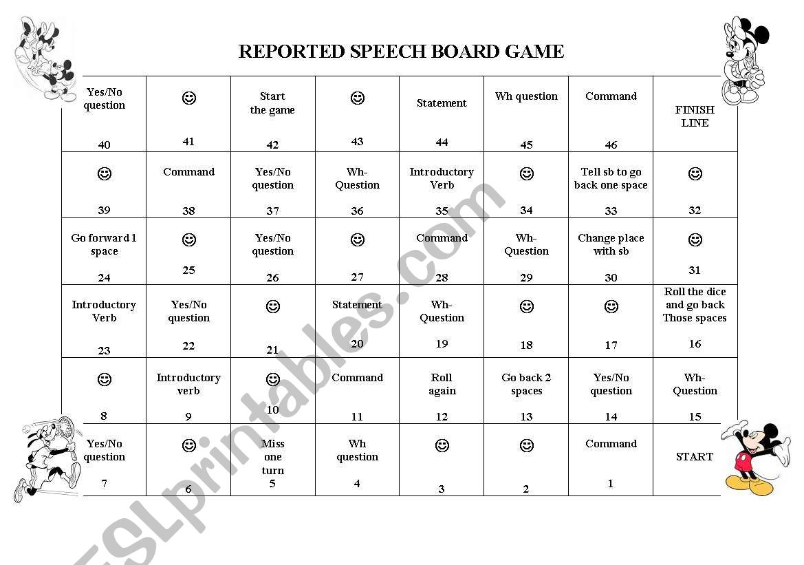 Reported Speech Board Game  worksheet