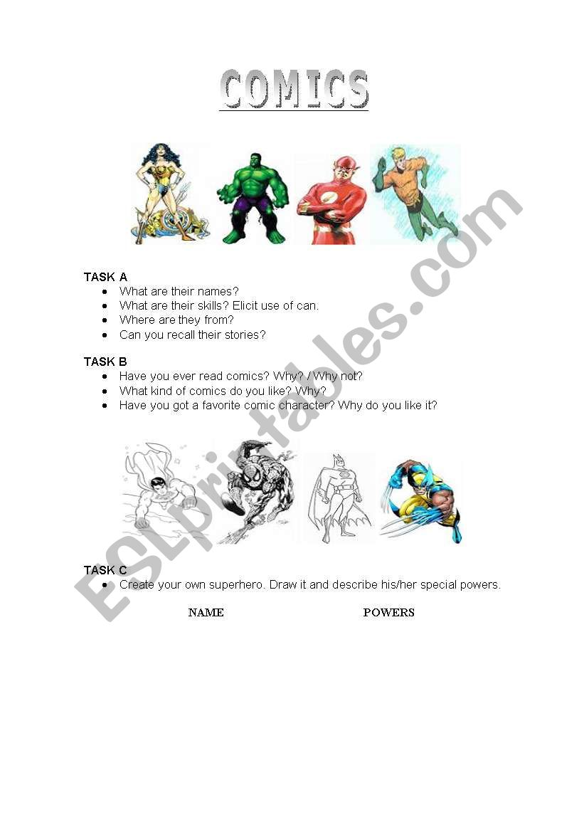 Comics and Superheroes worksheet