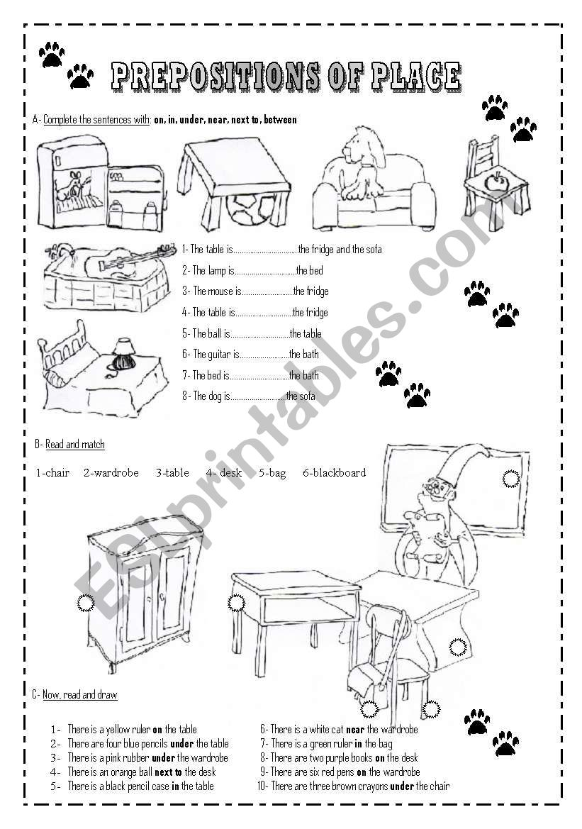 prepositions of place esl worksheet by pfreites. Black Bedroom Furniture Sets. Home Design Ideas