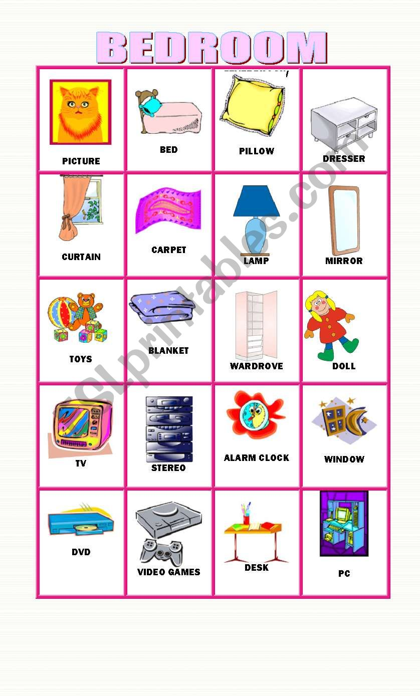 English Worksheets 20 Flashcards About Objects In The Bedroom