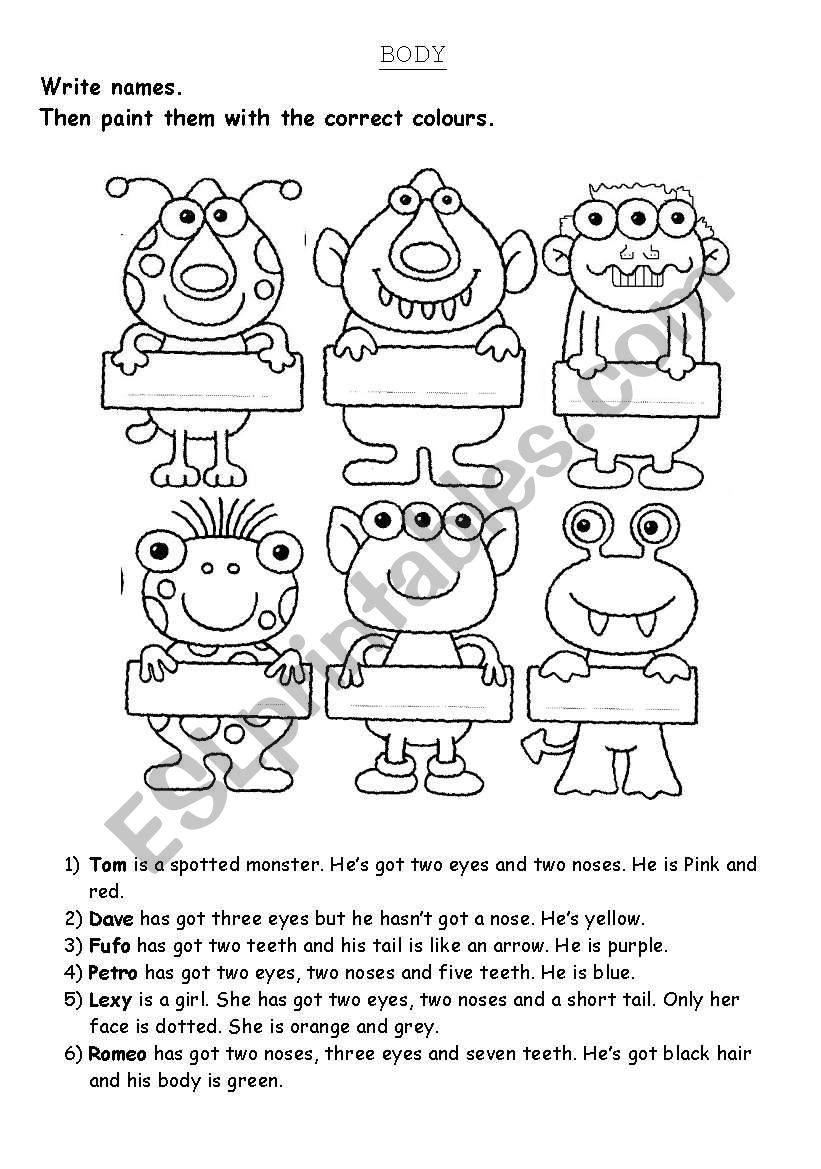 Monsters worksheet
