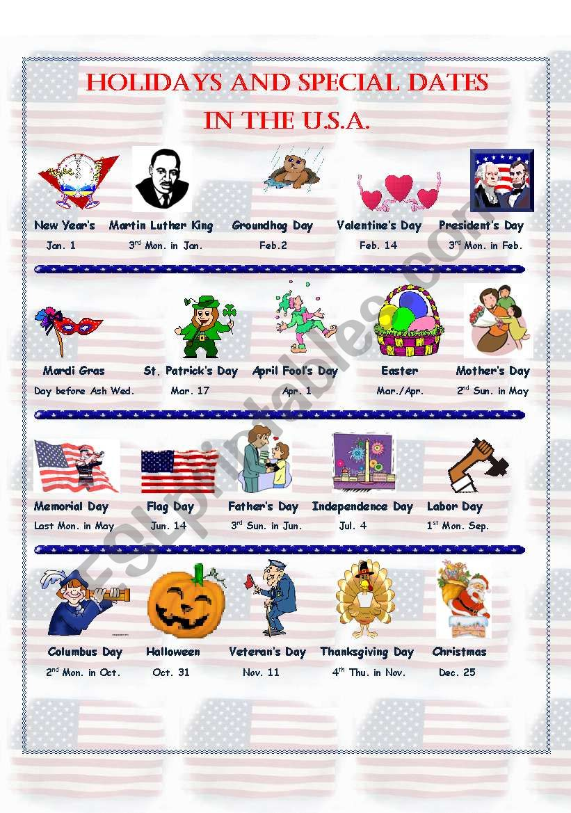 Holidays and Special Dates in the U.S.A. - Pictionary