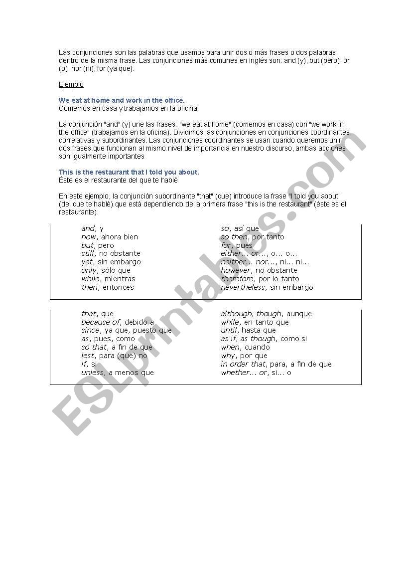 English Worksheets Conjunctions And Interjections