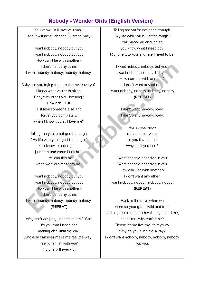 English Worksheets Nobody But You English Version Lyrics You know i still love you baby and it will never change. english worksheets nobody but you
