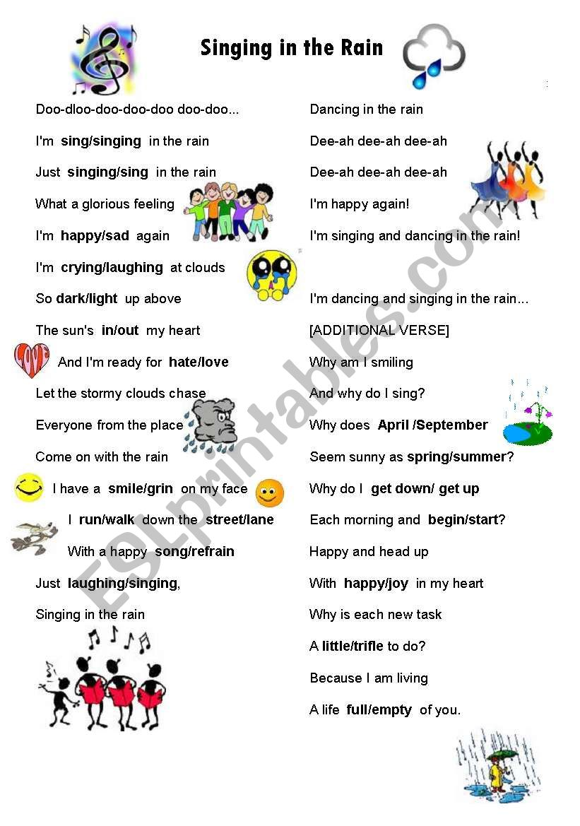 Singing in the Rain with opposites and similar words worksheets.