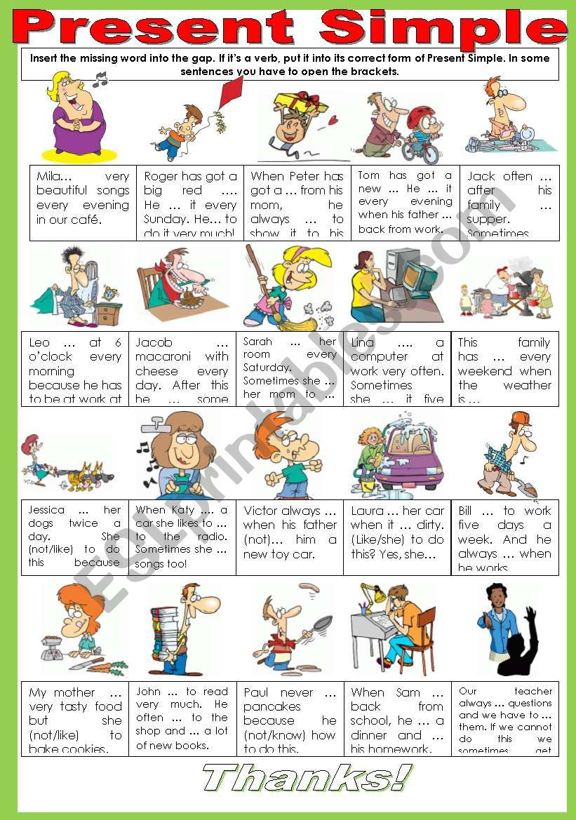 PRESENT SIMPLE. REINFORCING SOME VOCABULARY AND TRAINING YOUR GRAMMAR MUSCLES. Part 1/2.