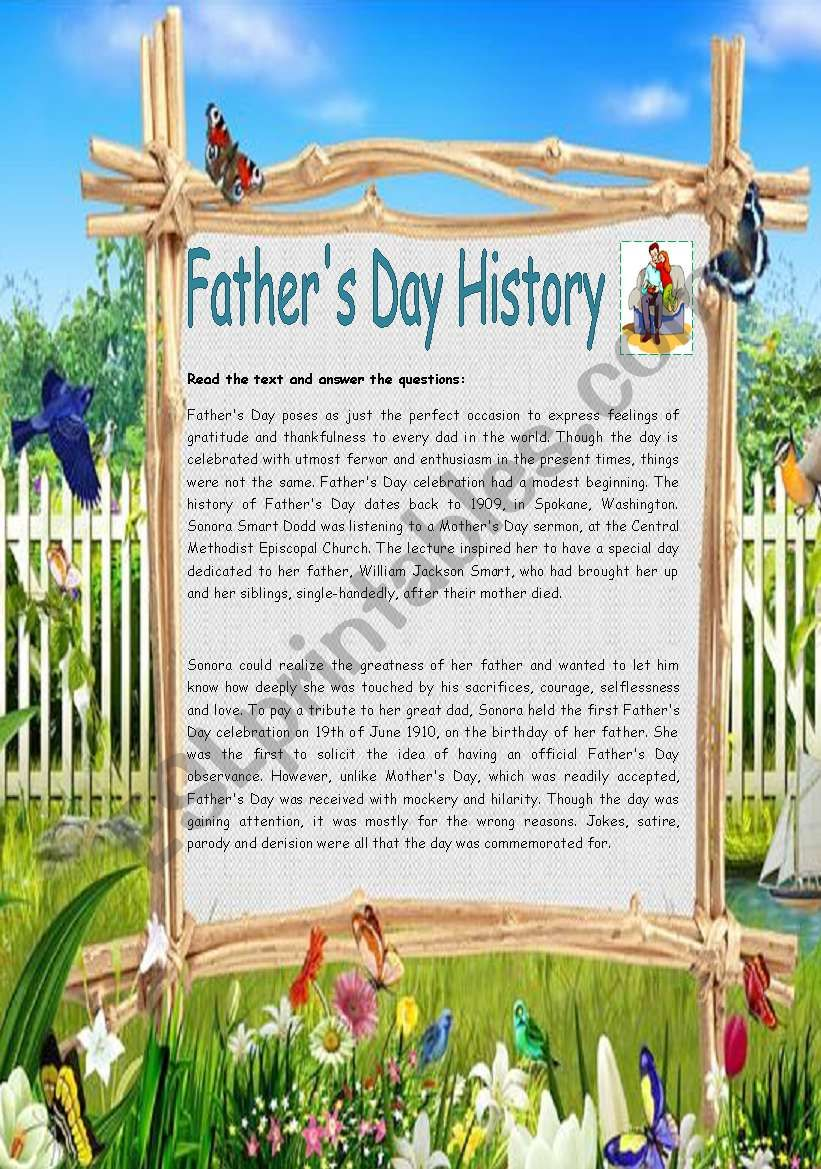 Father´s Day History worksheet
