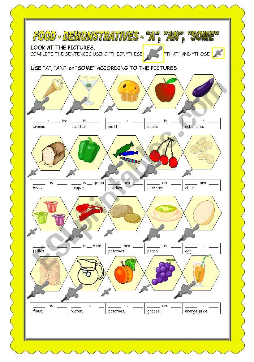 FOOD: INDEFINITE ARTICLE + SOME