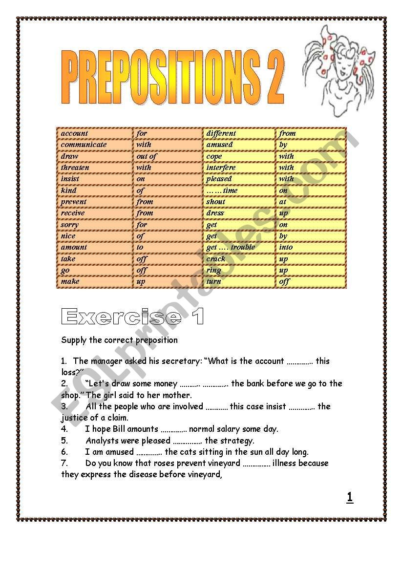 19 pages of Prepositions after verbs and adjectives