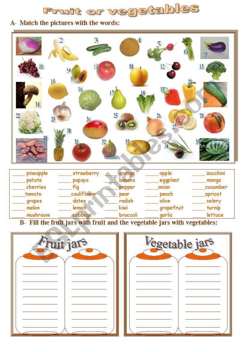 fruit or vegetables worksheet