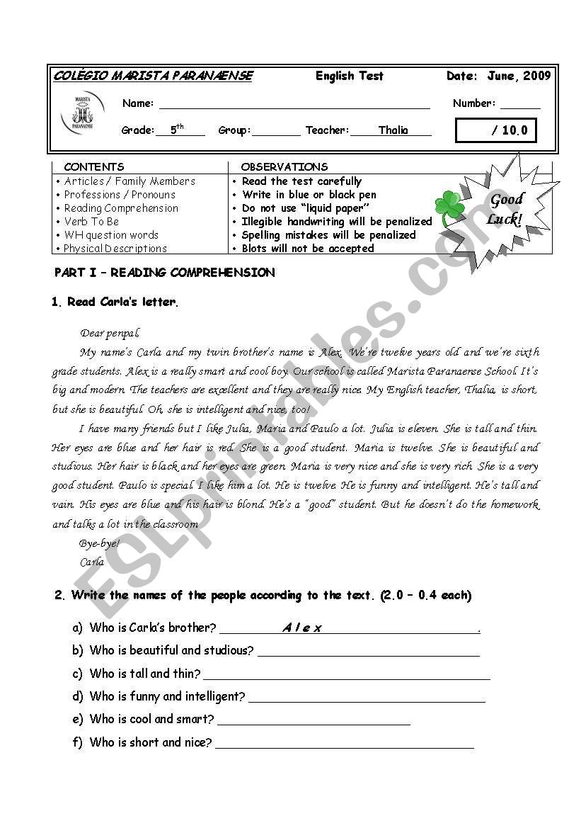 - 5th GRADE TEST II - FOUR PAGES WITH A GREAT VARIETY OF QUESTIONS