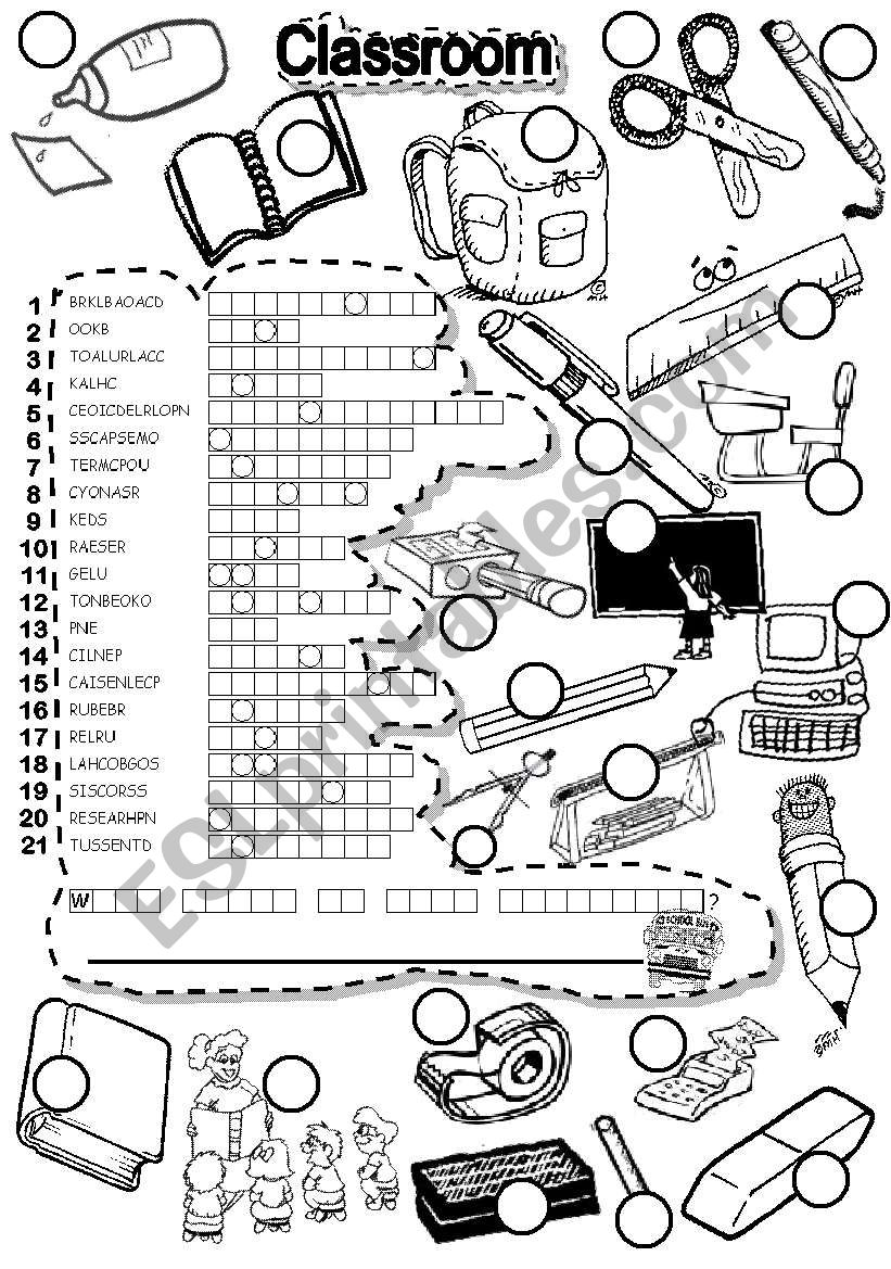 SCHOOL PUZZLE worksheet