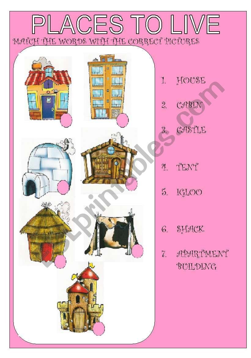 places to live kind of houses esl worksheet by emaflor. Black Bedroom Furniture Sets. Home Design Ideas