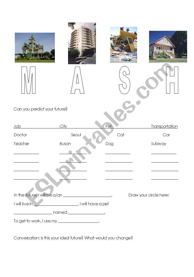 photo about Mash Game Printable identified as English worksheets: MASH Long term Sport