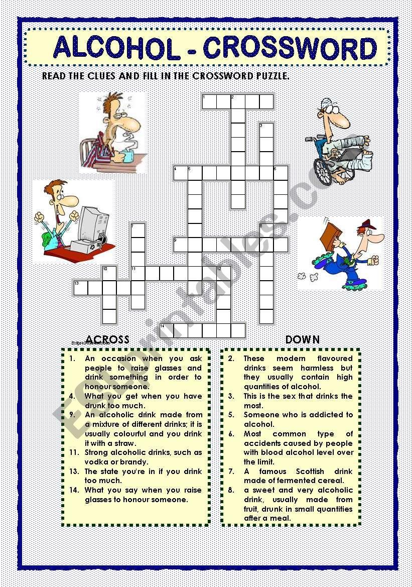 Alcohol Crossword Esl Worksheet By Macomabi