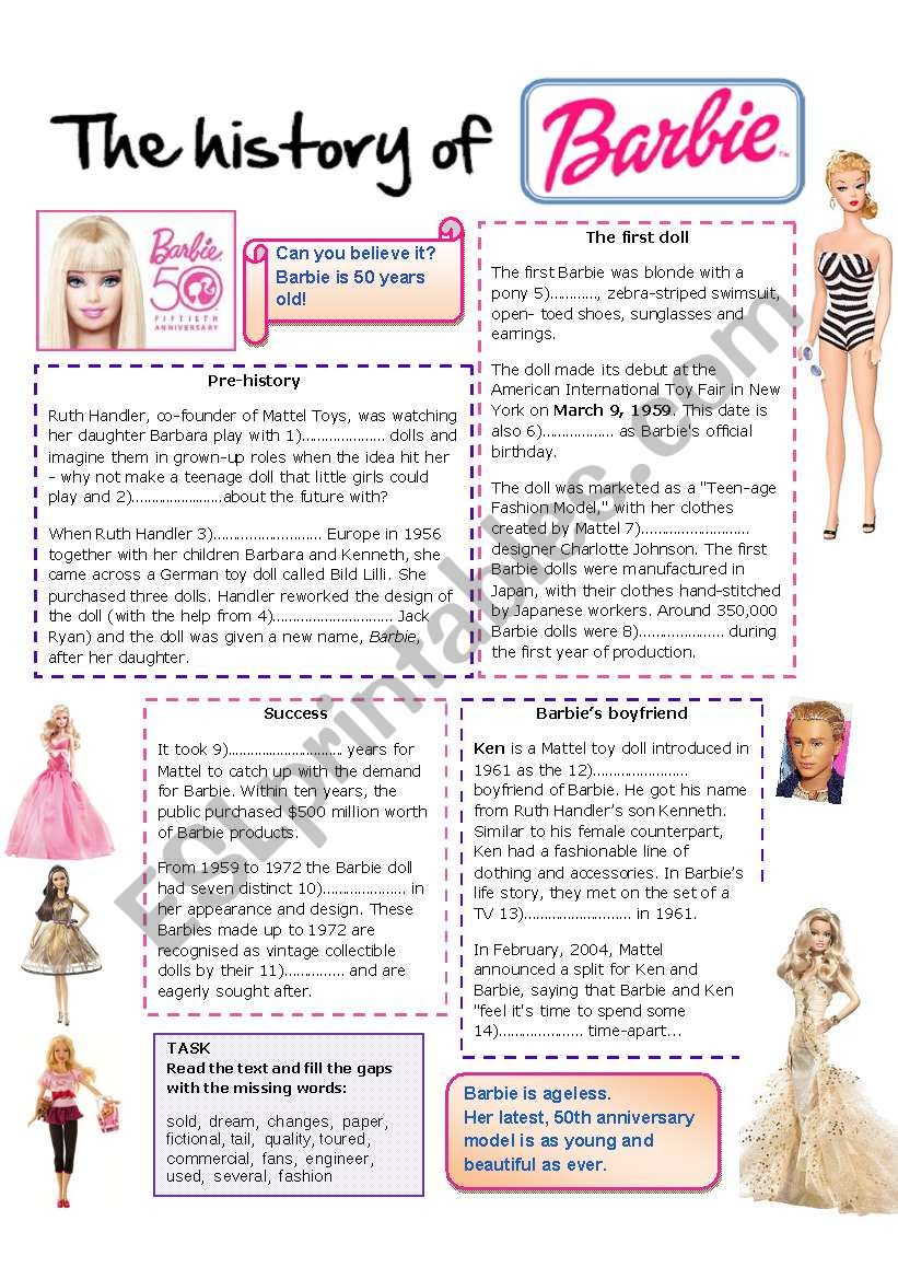 History of Barbie worksheet