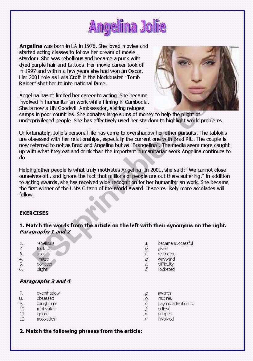 Angelina Jolie worksheet