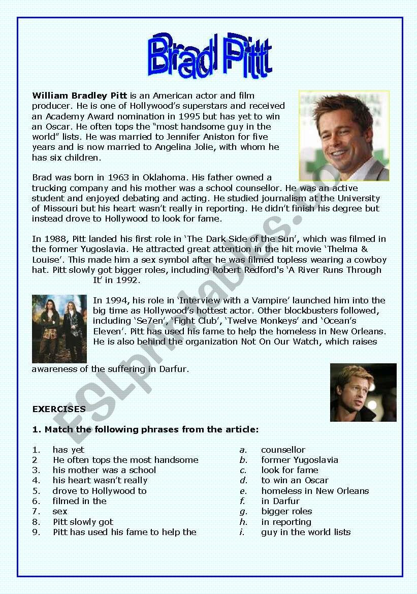 Brad Pitt worksheet
