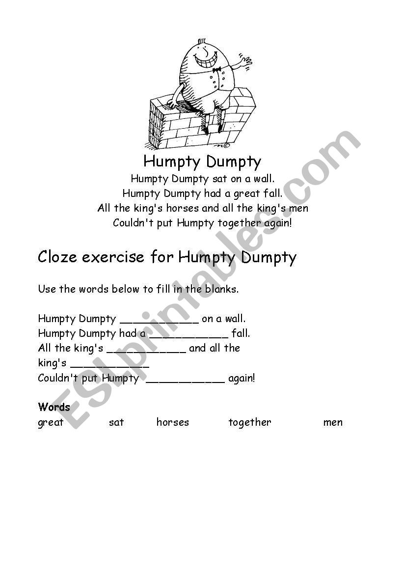Humpty Dumpty Cloze Activity worksheet