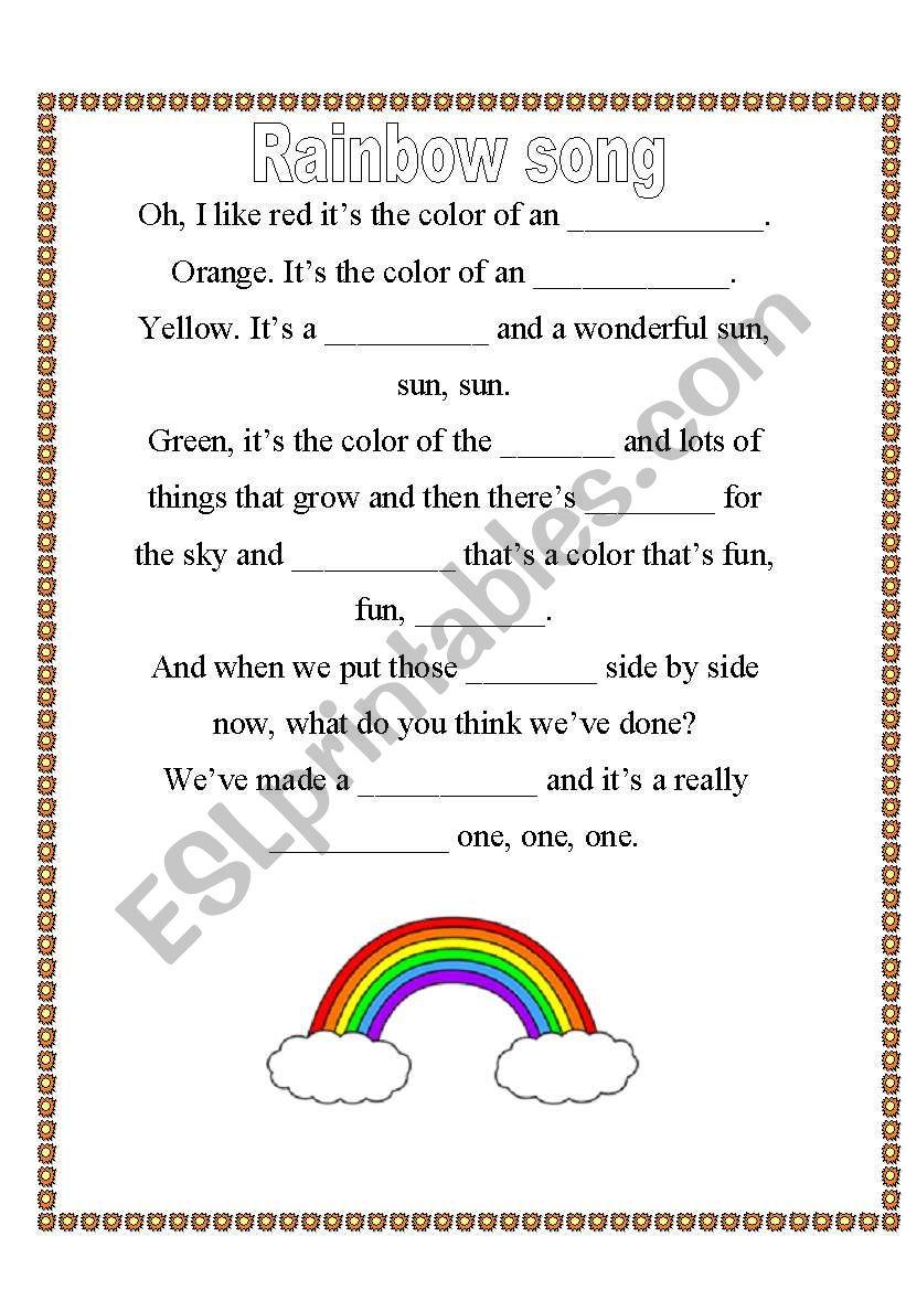 english worksheets rainbow color song. Black Bedroom Furniture Sets. Home Design Ideas