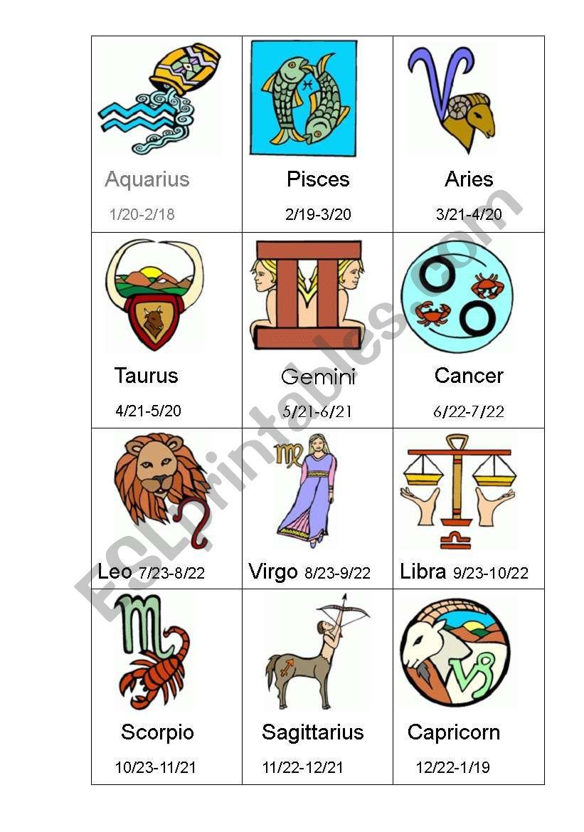 Zodiac Signs worksheet