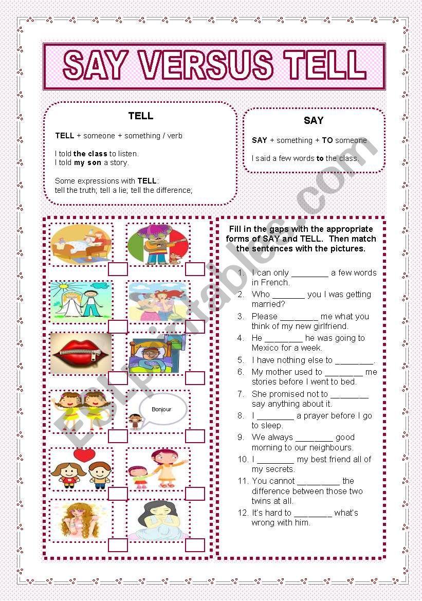 say versus tell worksheet