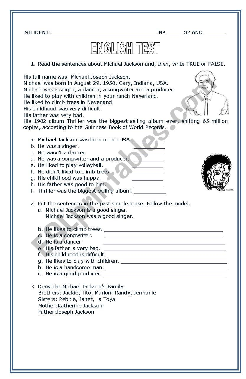 About Michael Jackson worksheet