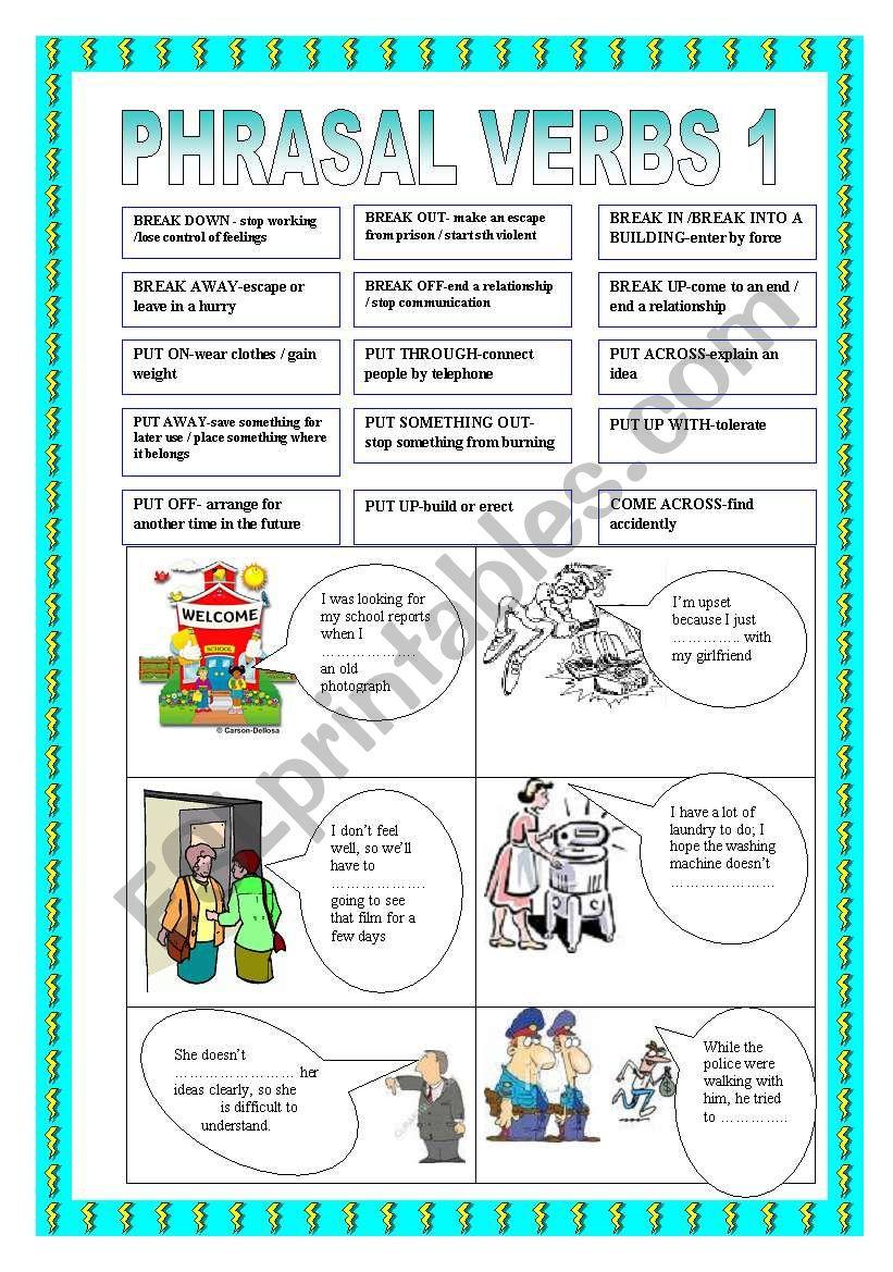 PHRASALVERBS 1 worksheet