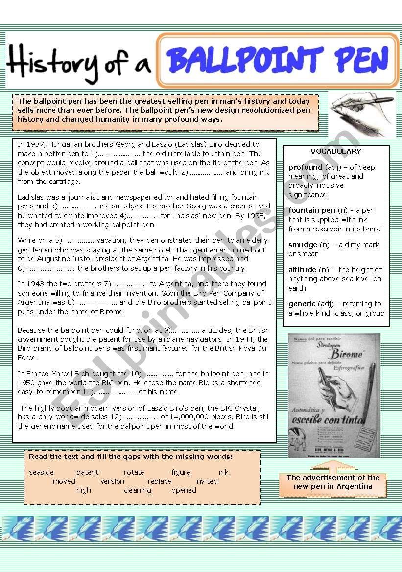 History of a ballpoint pen (biro)