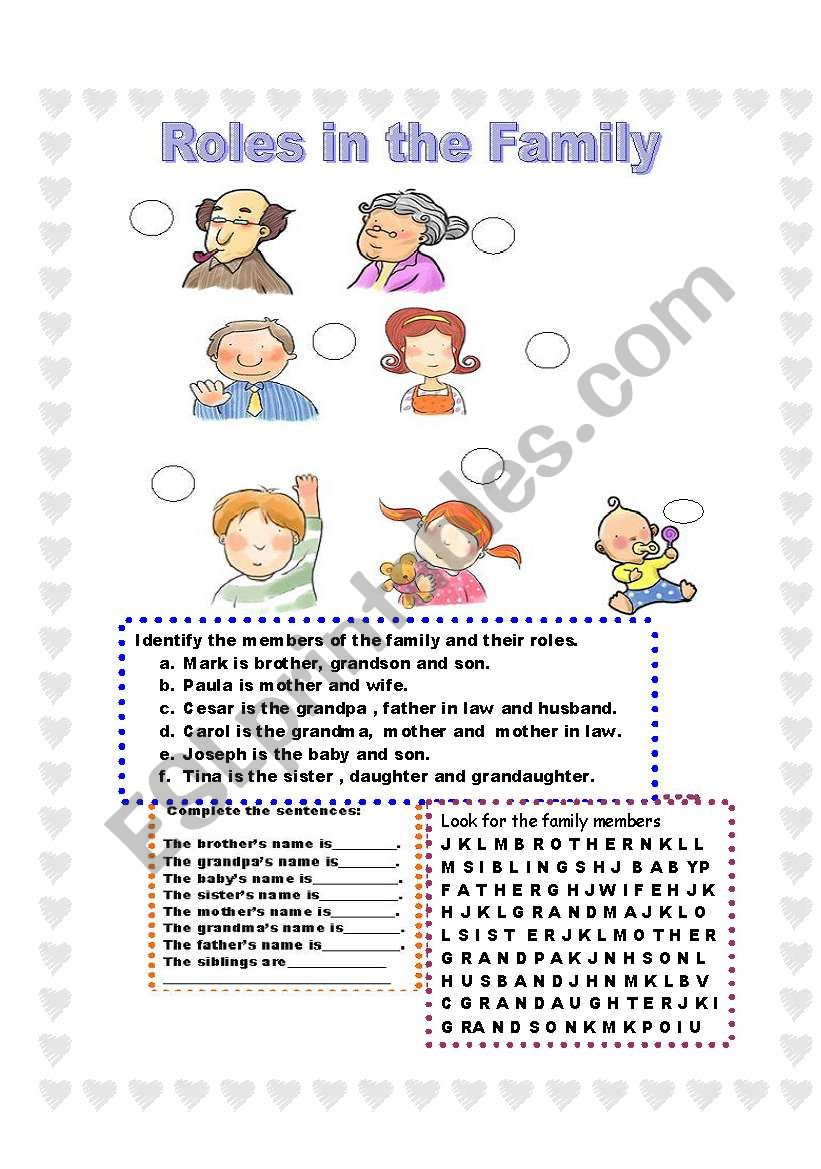 Roles In The Family Match And Complete Esl Worksheet By
