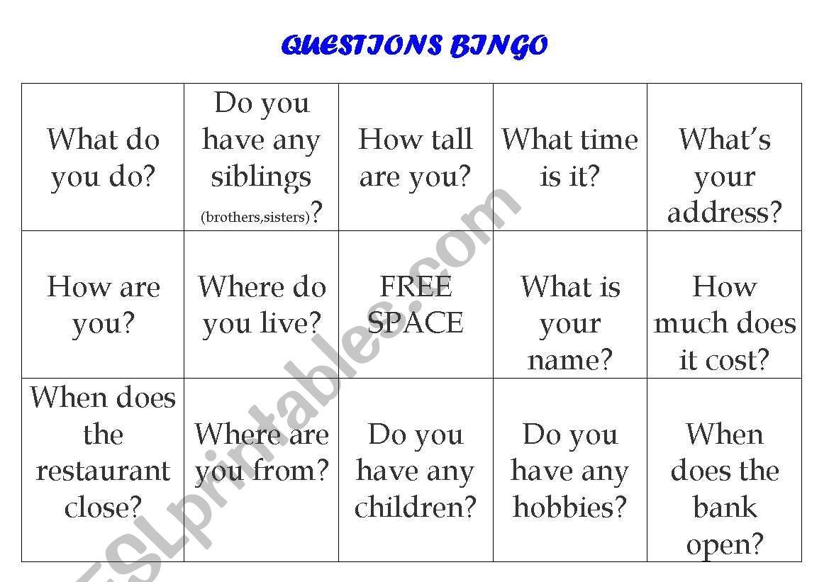 Question Answer Conversation Bingo