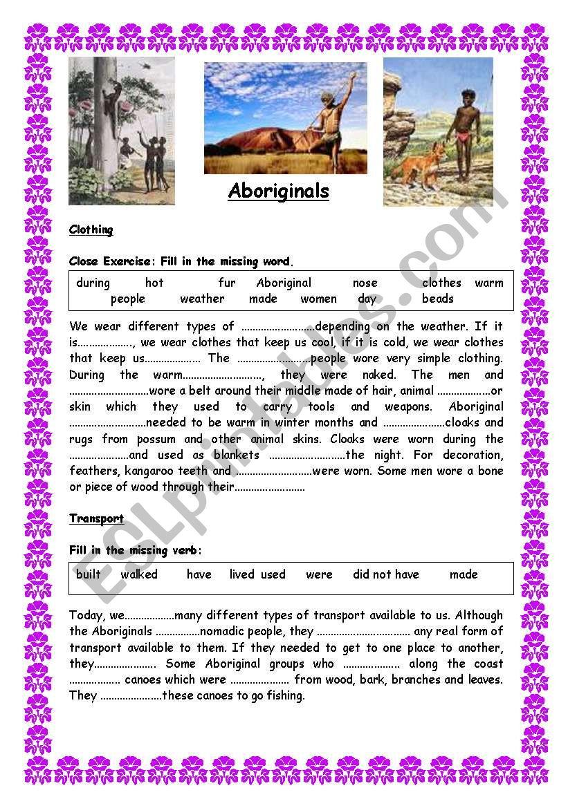 Australian Aborigines Comprehensive Unit Of Work 11 Pages Elementary To Intermediate Editable Esl Worksheet By Ranclaude