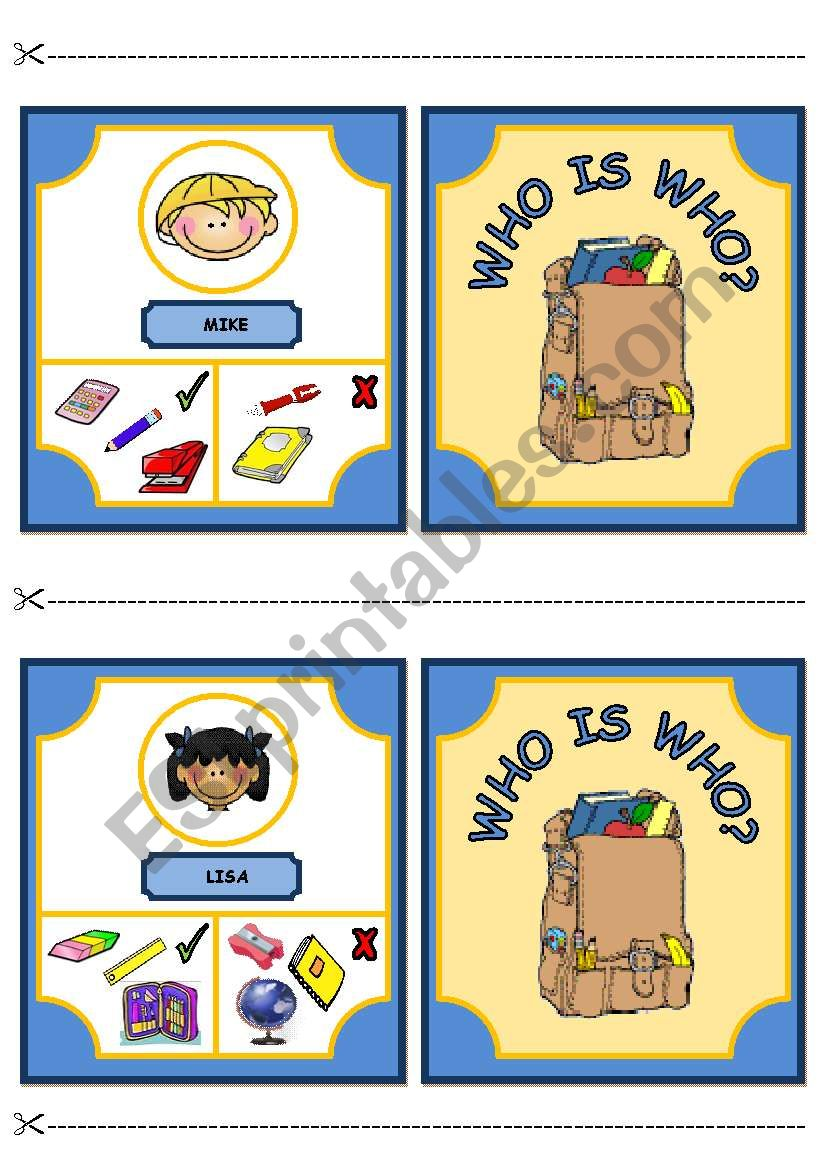 WHO IS WHO? GAME - CLASSROOM OBJECTS AND HAVE GOT (part 2)