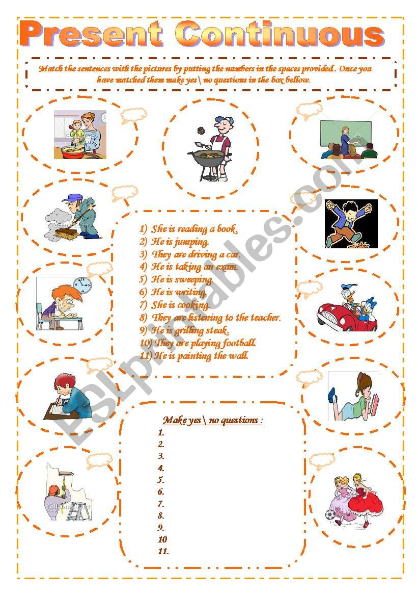 The present continuous worksheet