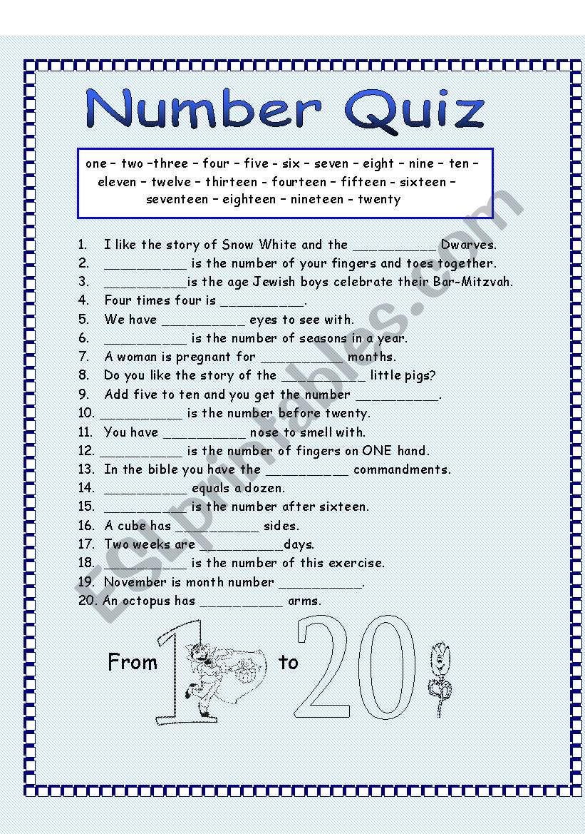 Number Quiz - ESL worksheet by ronit85