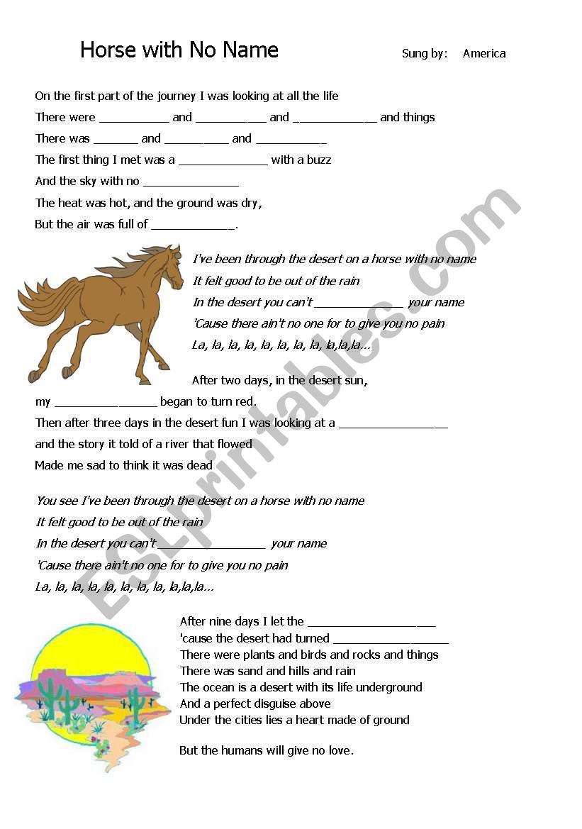 Lesson Plan on The Desert : song by America Horse with No Name.