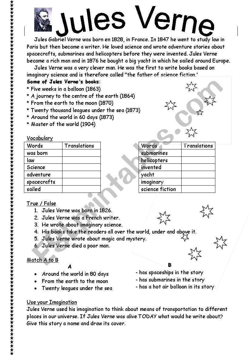 Jules Verne - ESL worksheet by ronit85
