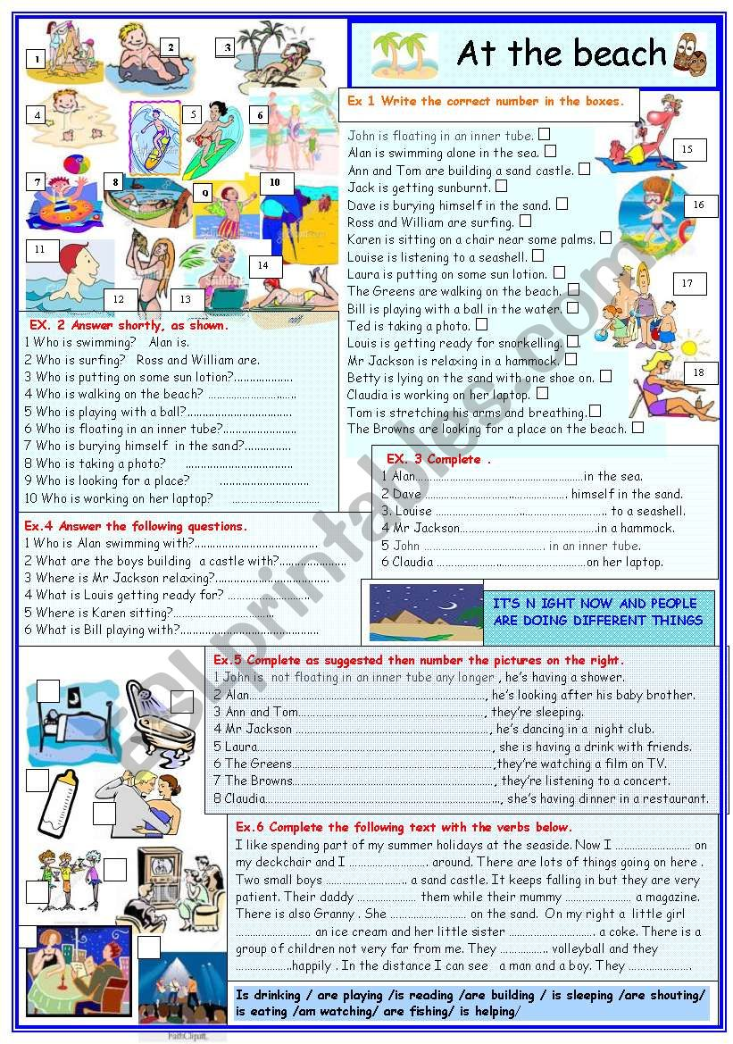 At the  beach worksheet