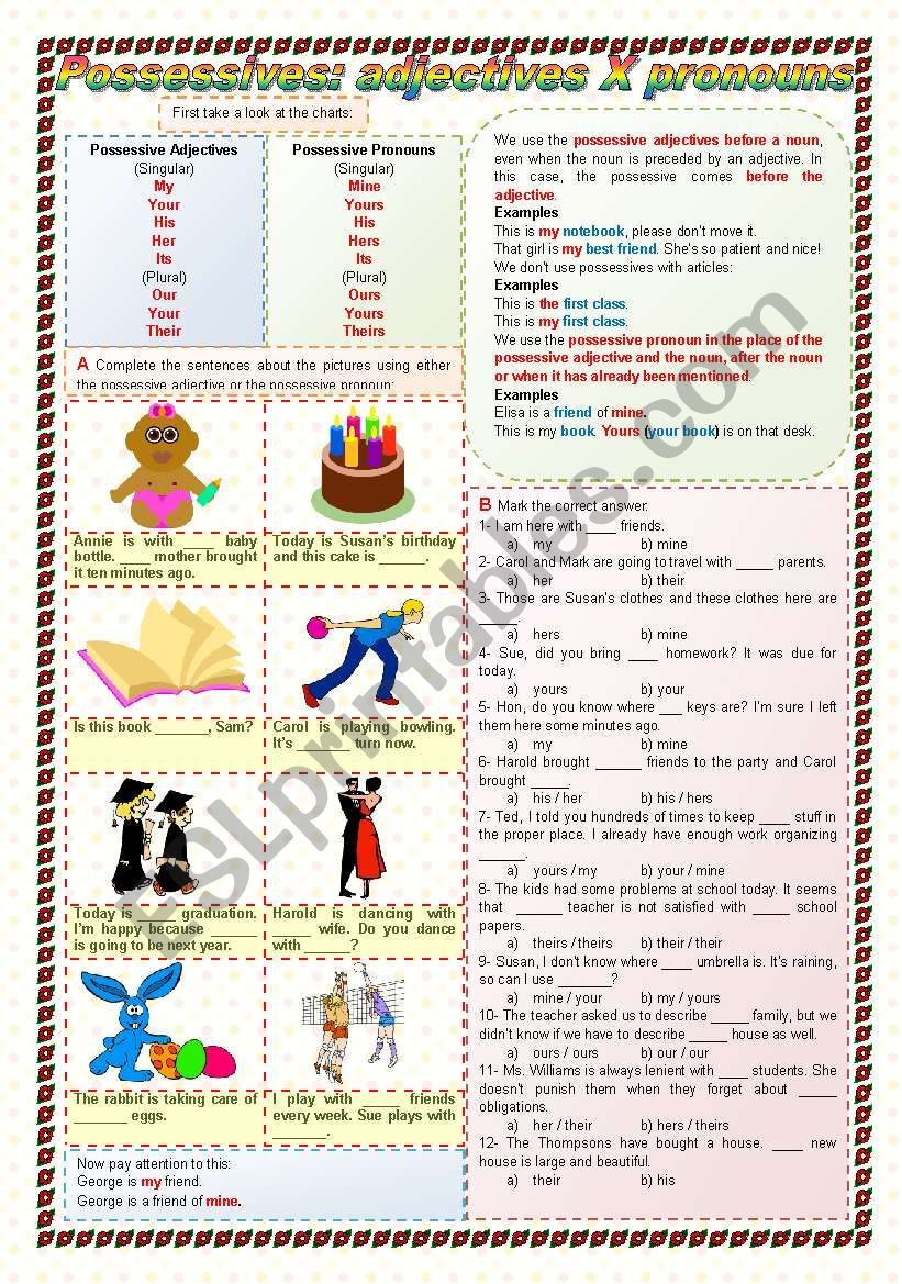 Possessives: Adjectives X Pronouns