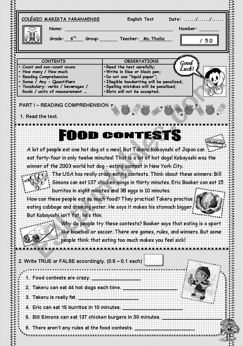 6TH GRADE TEST - FOODS & BEVERAGES - QUANTIFIERS - COUNT & UNCOUNTABLE NOUNS - SOME & ANY - HOW MUCH & HOW MANY ...