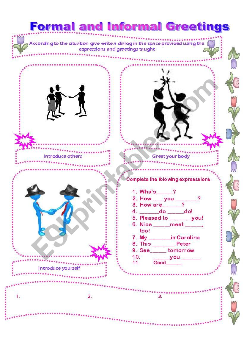 Formal And Informal Greetings Esl Worksheet By Lomasbello