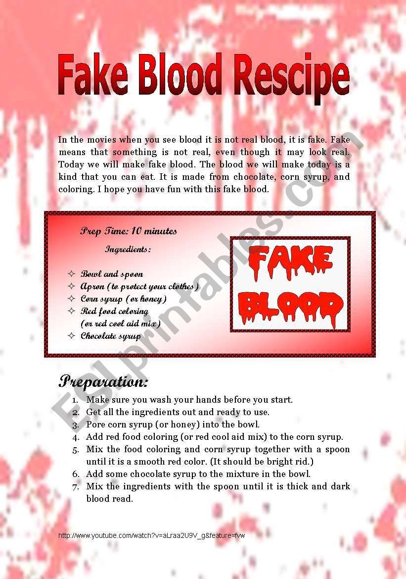 Fake Blood Recipe Seventh 15min Of Twilight Esl Worksheet By