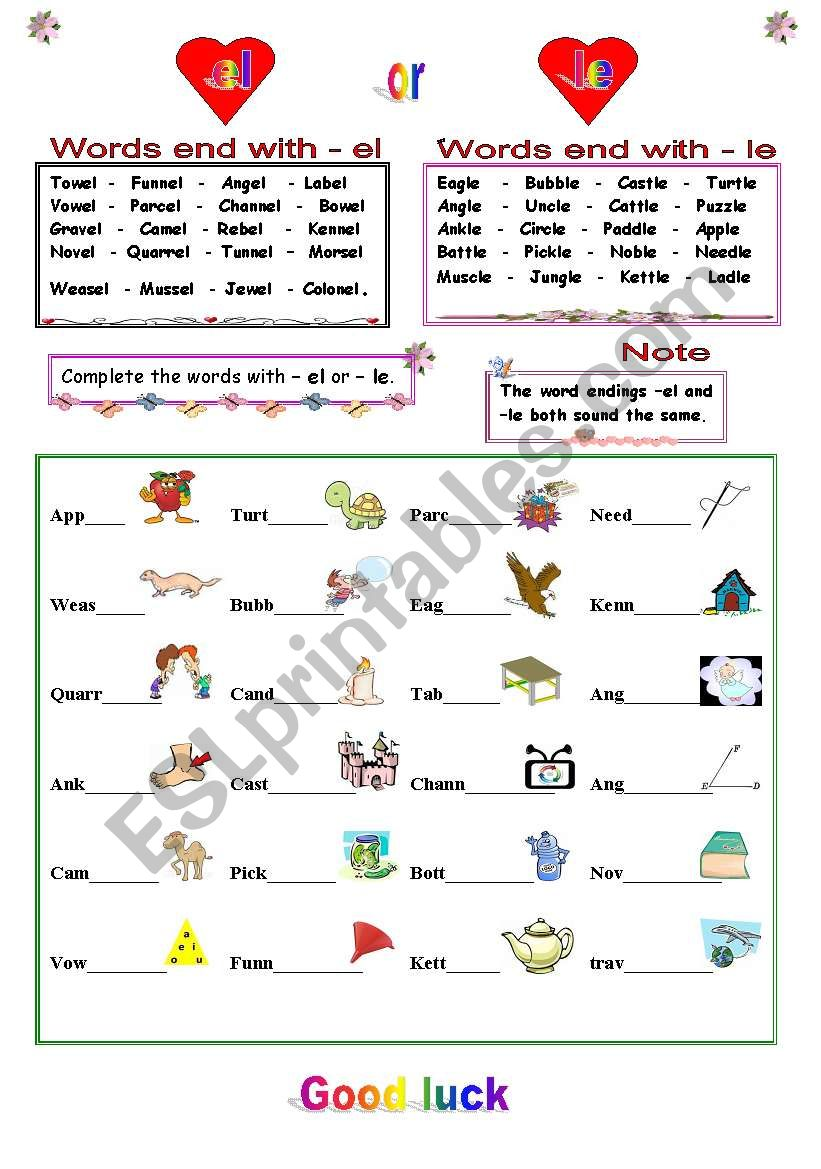 English Worksheets Words End With El Or Le