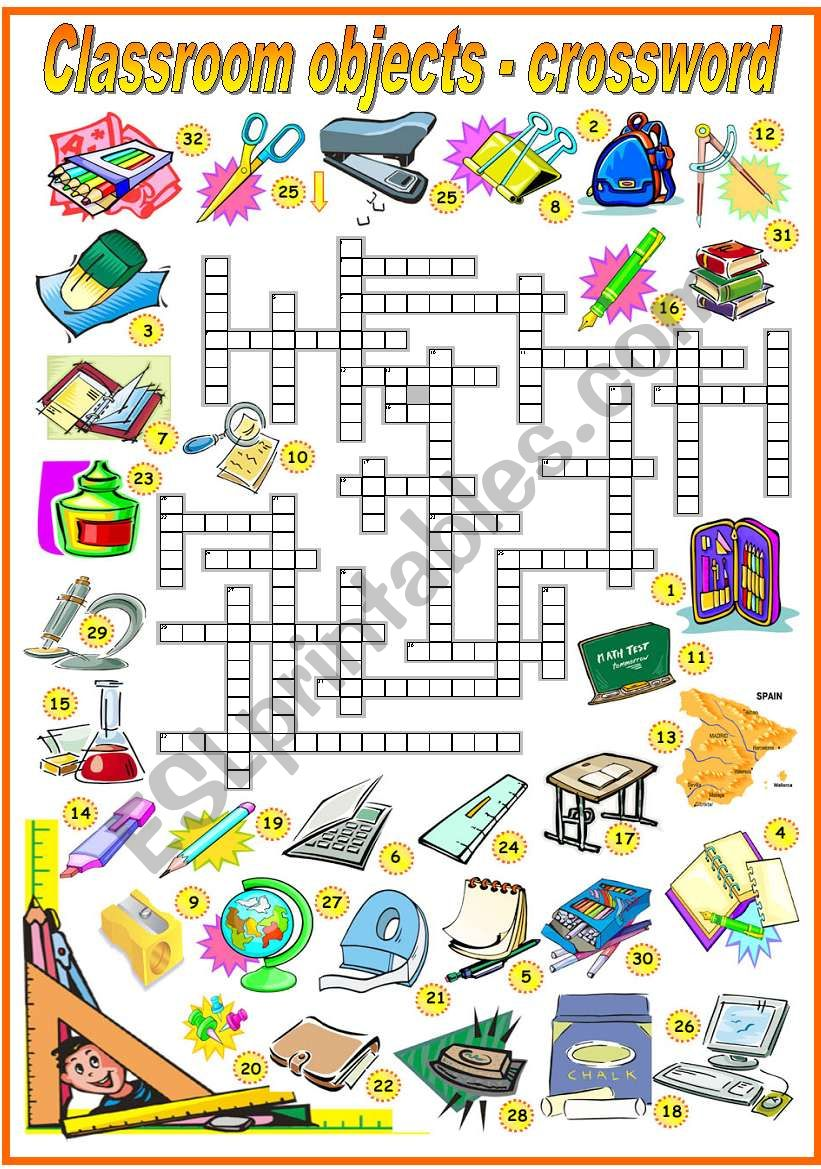 CLASSROOM OBJECTS - CROSSWORD (B&W VERSION INCLUDED)