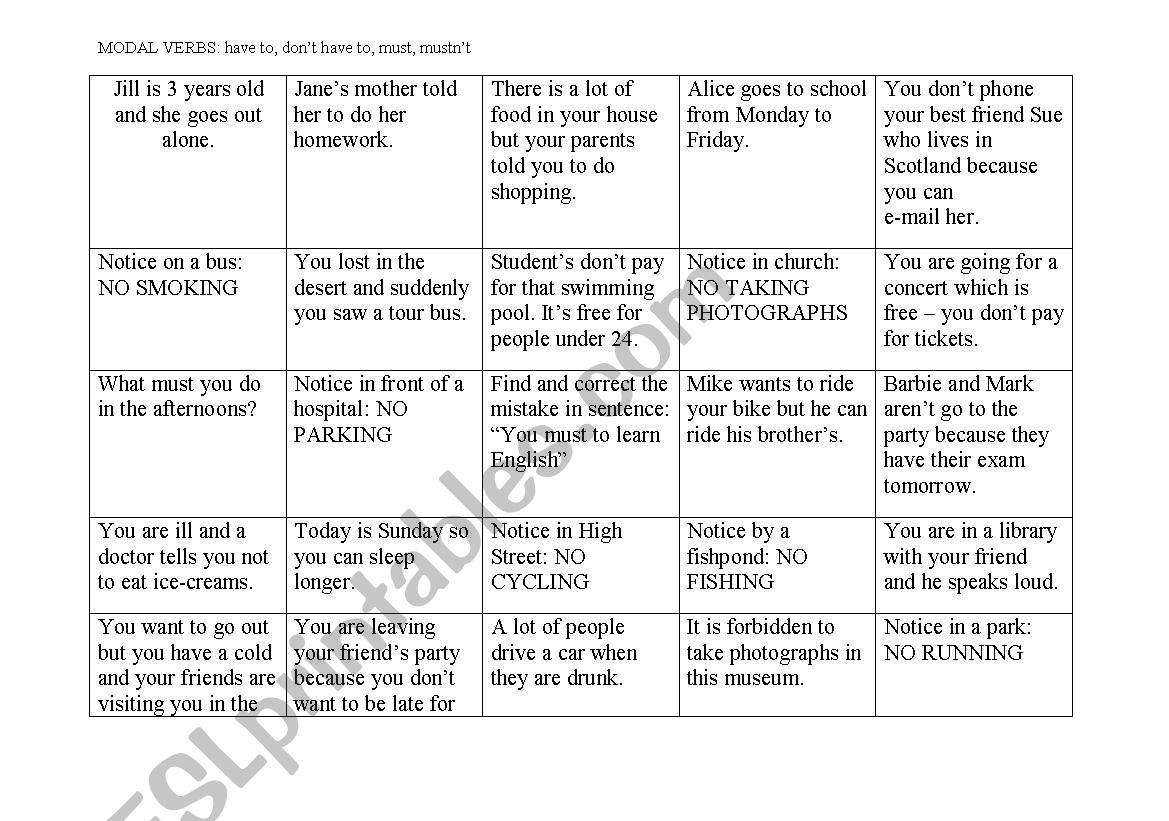 Modal verbs - board game worksheet
