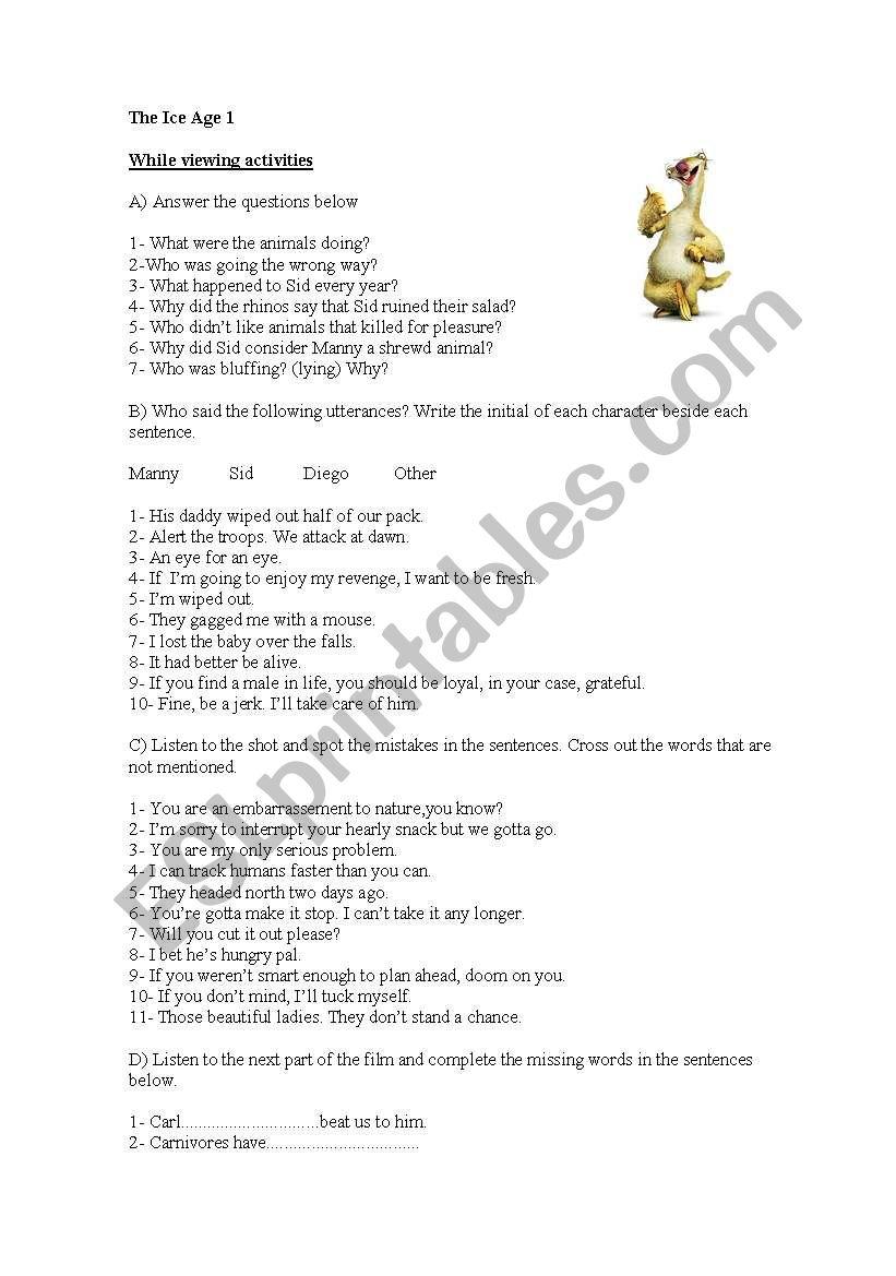 Ice Age 1 - ESL worksheet by mariambarnech