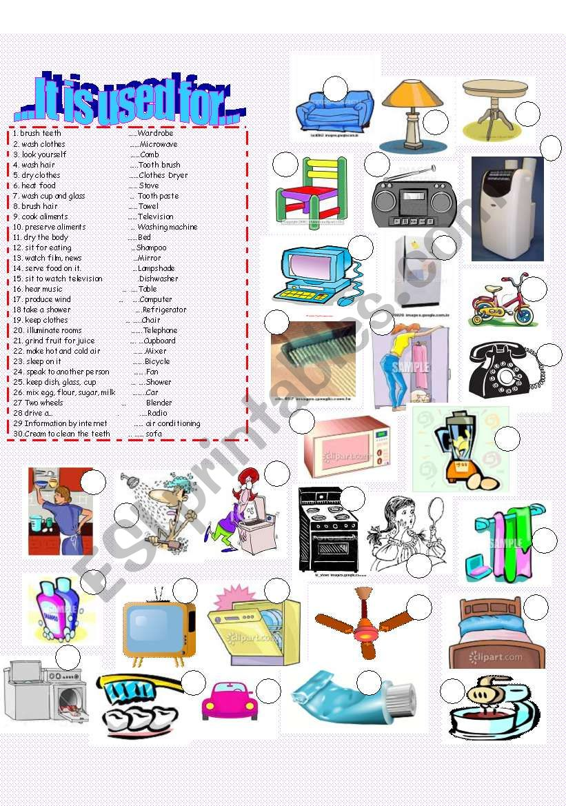 House objects - It is used for...