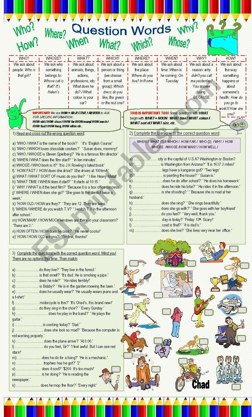 English worksheets question words question words worksheet ibookread ePUb